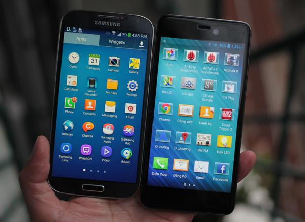 Q-Smart Dream SI đọ màn hình cùng Samsung Galaxy S4 2