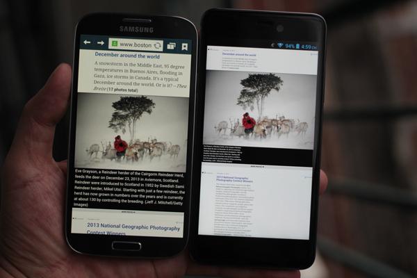 Q-Smart Dream SI đọ màn hình cùng Samsung Galaxy S4 5