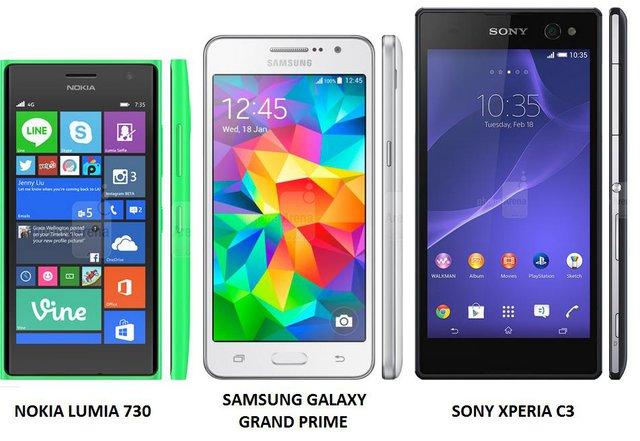 Samsung Galaxy Grand Prime G530, Sony Xperia C3 và Nokia Lumia 730