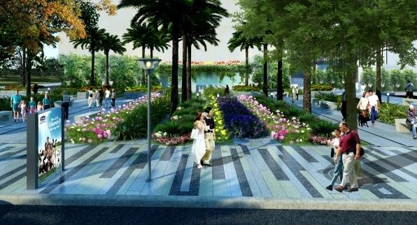 Phối cảnh vườn hoa cảnh quan – Tổ hợp căn hộ đẳng cấp Goldmark City