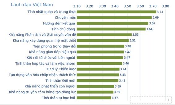 Việt Nam: Điểm số bình quân của 16 năng lực khác biệt