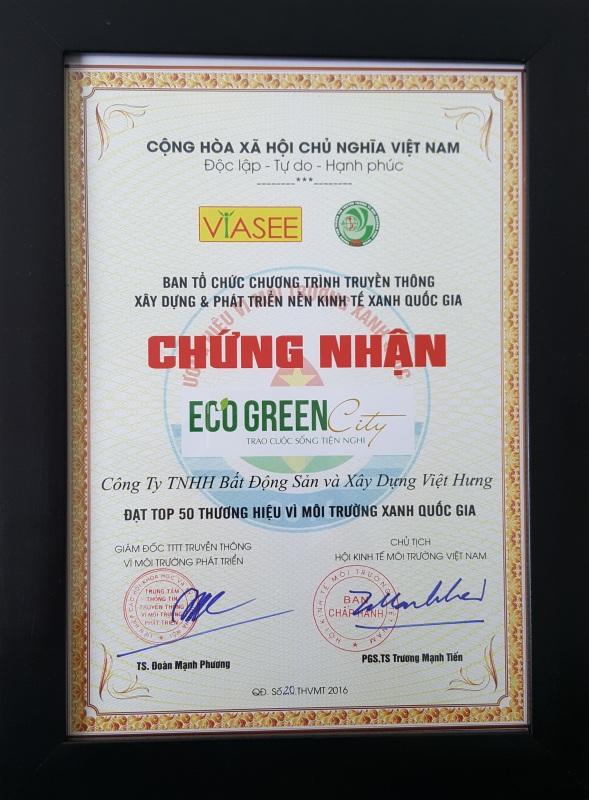 Eco – Green City là một trong 50 thương hiệu Vì môi trường xanh Quốc gia