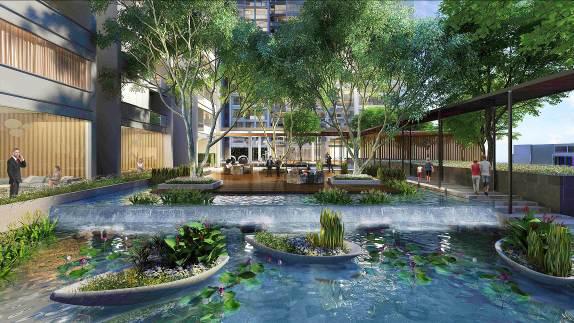 Khu cảnh quan tuyệt đẹp với vườn nổi kết hợp cây xanh mặt nước tại Vinhomes Metropolis