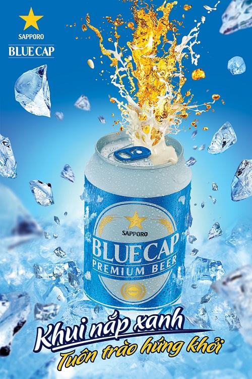 Diện mạo bia BLUE CAP - sản phẩm đạt chất lượng Nhật dành riêng cho khách hàng Việt.