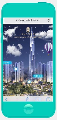 Quảng cáo Mobile sử dụng công nghệ Parallax trên mobile chỉ cần xoay để nhìn được 360 độ dự án.
