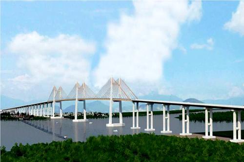 Phối cảnh cầu Bạch Đằng bắc qua sông Bạch Đằng nối Quảng Ninh với Hải Phòng.