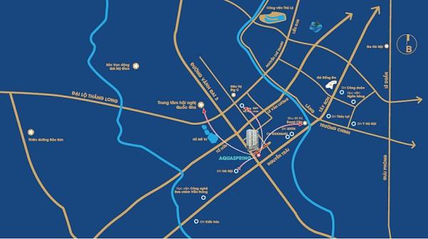 AquaSpring nằm ở vị trí trung tâm phía Nam thành phố Hà Nội.