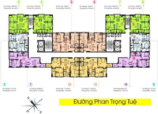 Tabudec Plaza nằm trong số ít dự án chung cư tại Hà Nội có mật độ xây dựng là 25%, mật độ căn hộ/ tầng thấp (chỉ 12 căn/ tầng).