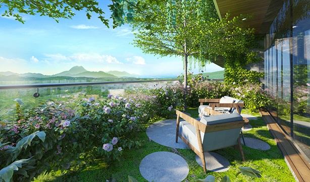 Diện tích sân vườn trên cao rộng, mang đến những trải nghiệm chưa từng có.