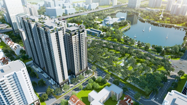 Các tòa nhà của Việt Đức Complex đều hướng trực diện công viên hồ điều hòa Nhân Chính.