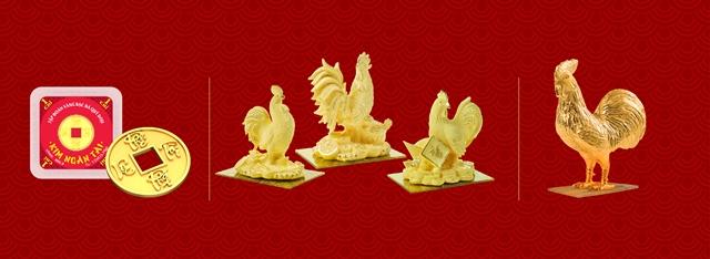 Ngoài đồng vàng 999.9 Kim Dậu – sản phẩm vốn đã nổi tiếng qua ngày Thần Tài của các năm, DOJI còn tung ra thị trường nhiều sản phẩm độc đáo, đẹp mắt như: sản phẩm Kim Ngân Tài 1-2 chỉ; Gà vàng mỹ nghệ đúc rỗng công nghệ Nano đặc biệt với lớp ngoài hoàn toàn bằng vàng 999.9; Gà vàng mỹ nghệ nguyên khối 1 đến 5 lượng.