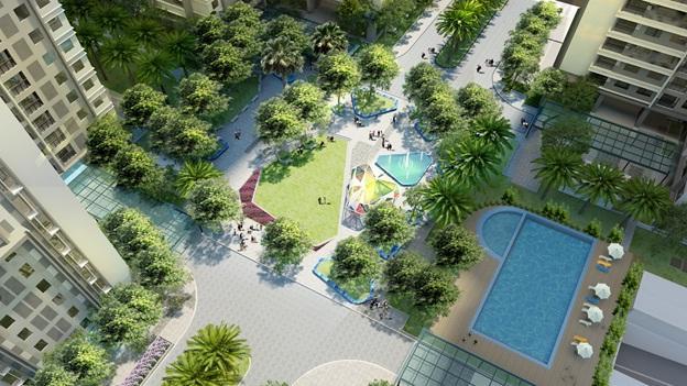 Quảng trường Sapphire với diện tích gần 5.300m2 là khu vườn cổ tích với Pavillon trung tâm có các cạnh bắt sáng được ghép từ hàng ngàn miếng nhỏ, bao quanh là hồ nước và cây xanh tươi mát. Khi hoàn thiện, khu Sapphire mang vẻ đẹp nhẹ nhàng và tinh tế như một khu nghỉ dưỡng cao cấp.