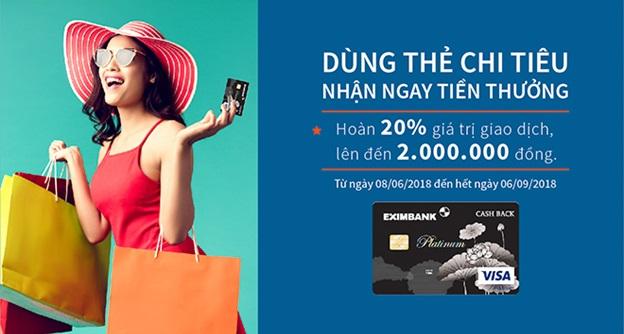 Eximbank ra mắt thẻ tín dụng quốc tế Eximbank – Visa Platinum Cash Back
