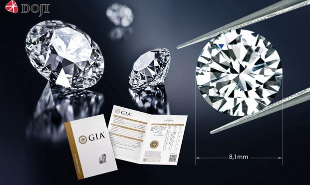 Kim cương viên kích thước đẹp 8,1 ly chỉ từ 450 triệu đồng