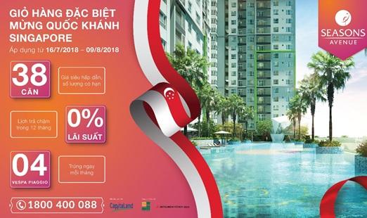38 căn hộ Seasons Avenue giá đặc biệt mừng Quốc khánh Singapore