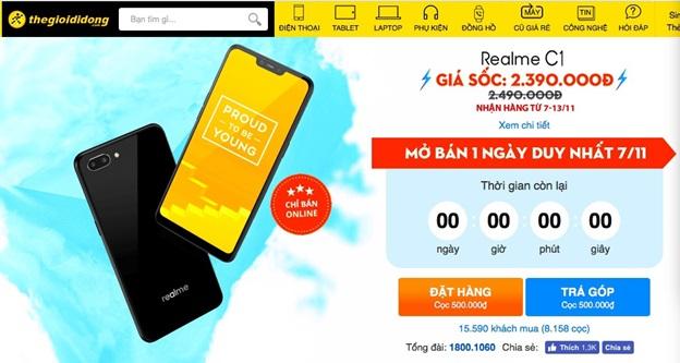 Vượt quá 11.000 máy bán ra, Realme C1 đang làm nóng tháng 11