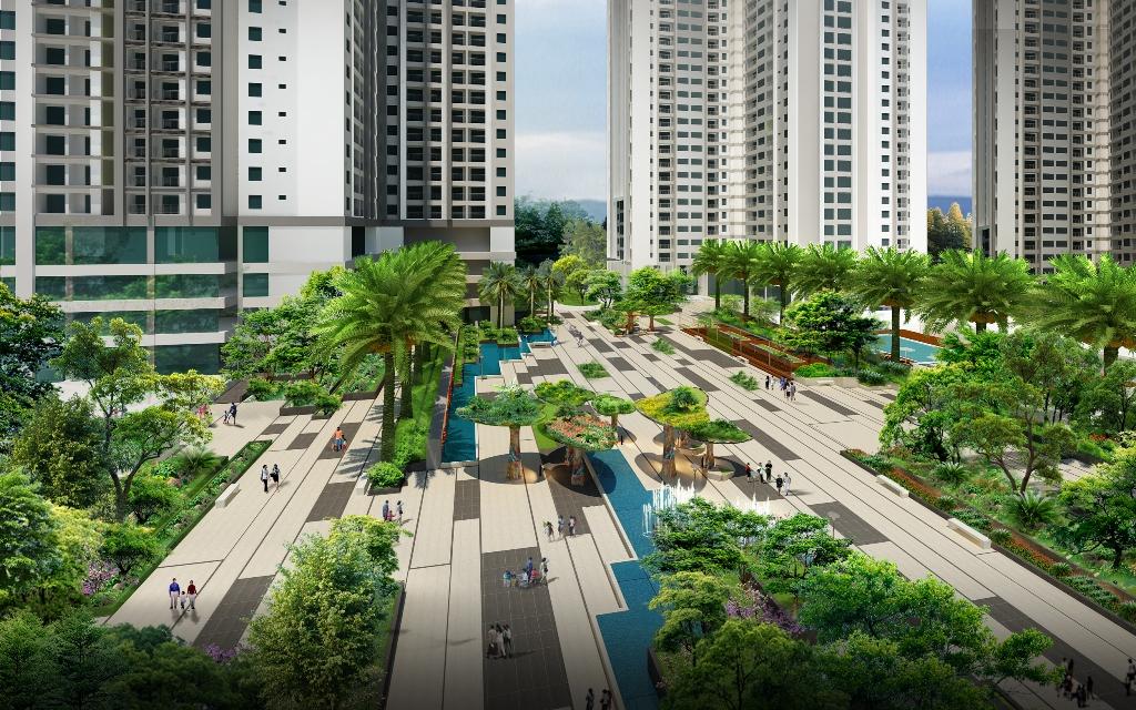 Phối cảnh quảng trường Ruby, Goldmark City – 136 Hồ Tùng Mậu, Hà Nội. Đất Xanh Miền Bắc phân phối chính thức.