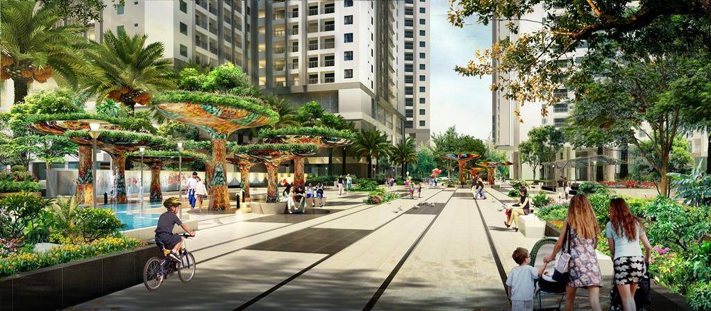 Góc quảng trường Ruby, tổ hợp căn hộ đẳng cấp Goldmark City, 136 Hồ Tùng Mậu, Hà Nội. Đất Xanh Miền Bắc phân phối chính thức.