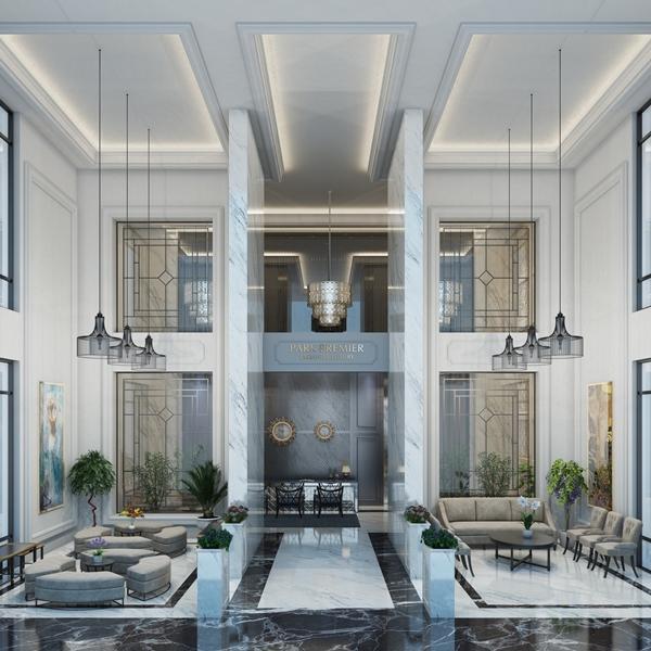 Sảnh Lobby đẳng cấp được thiết kế theo đúng tiêu chuẩn căn hộ dịch vụ hạng sang của Park Premier.