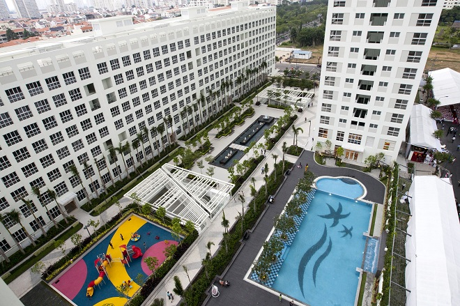 Cảnh quan nội khu do công ty chuyên thiết kế cảnh quan đô thị Malaysia - Prime Class Landscaping sắp đặt các hạng mục theo hướng kết nối cộng đồng.