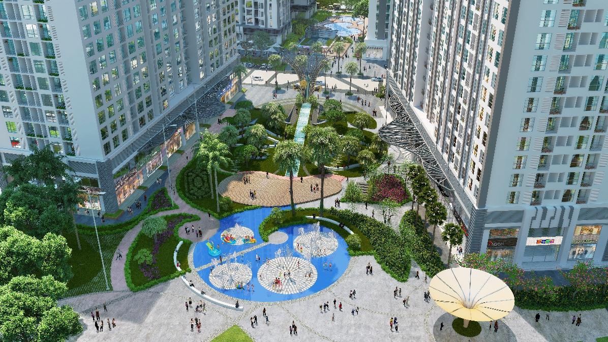 Quảng trường trung tâm với đồi vọng cảnh, sân chơi phun nước và tháp đồng hồ