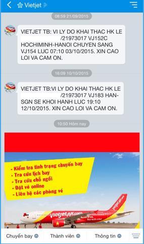 Vietjet gửi tin nhắn thông báo trên Zalo
