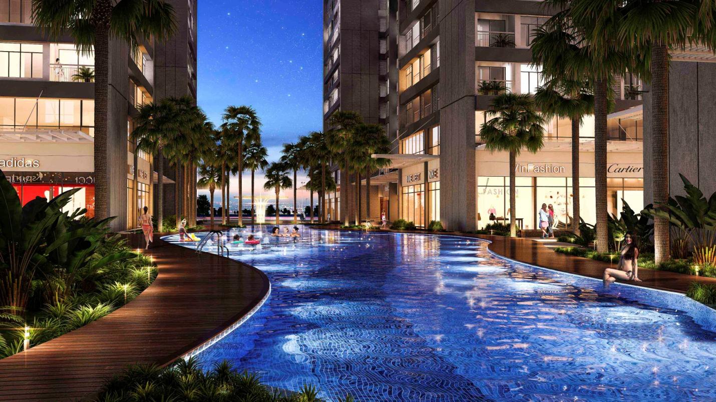 Bể bơi ngoài trời dài 80m kết hợp với cảnh quan cây xanh mang lại không gian thư giãn vượt bậc cho cư dân Park Hill PREMIUM