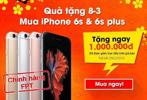 MUACHUNG PLAZA tặng quà đặc biệt ngày 8/3 cho khách hàng mua iPhone 6s/6s Plus