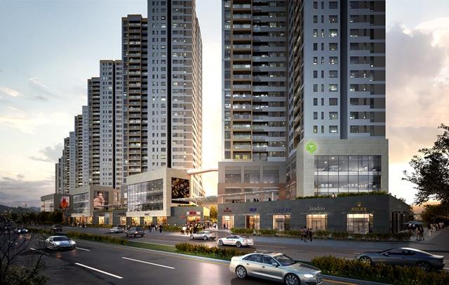 Office-tel The Sun Avenue chiếm 3 tầng khối đế mỗi tháp, có thang máy và sảnh đi riêng.