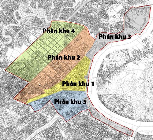 Các phân khu của trung tâm TP.HCM - Ảnh: Sở Quy hoạch - Kiến trúc TP.HCM cung cấp/Đồ họa: Nguyên Mi (báo Thanh Niên)