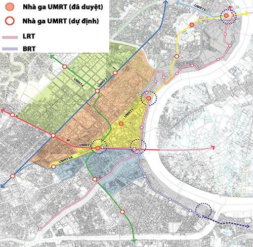 Hệ thống giao thông tại khu trung tâm TP. HCM - Ảnh: Sở Quy hoạch - Kiến trúc TP.HCM cung cấp/Đồ họa: Nguyên Mi (báo Thanh Niên)