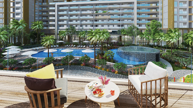 Các căn hộ tòa 27T Imperia Garden đều có hướng nhìn thẳng ra khu hồ bơi hình số 8