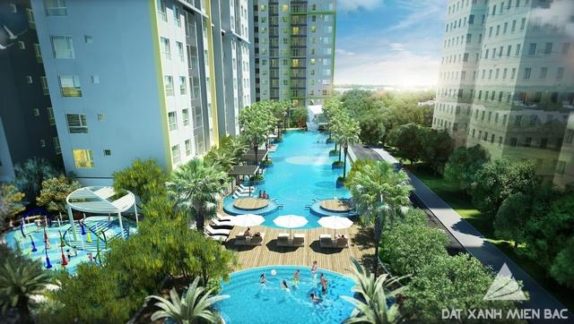 Summer Suites có tầm nhìn trọn bể bơi tuyệt đẹp