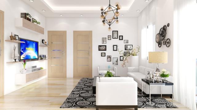 Phối cảnh phòng khách căn hộ Sunny Apartment