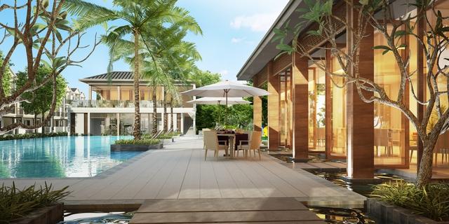 Khu vực Club House có hồ bơi, khu vực tắm nắng, nhà hàng...