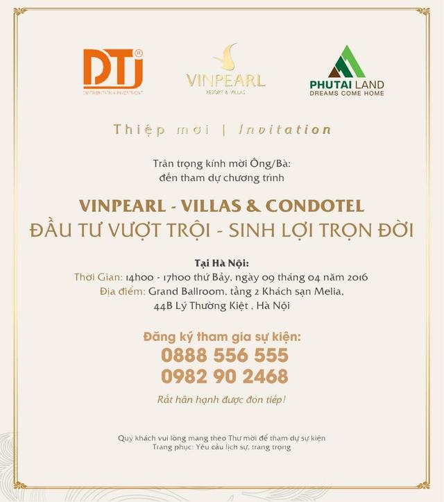 Thiệp mời sự kiện Vinpearl – Villas & Condotel