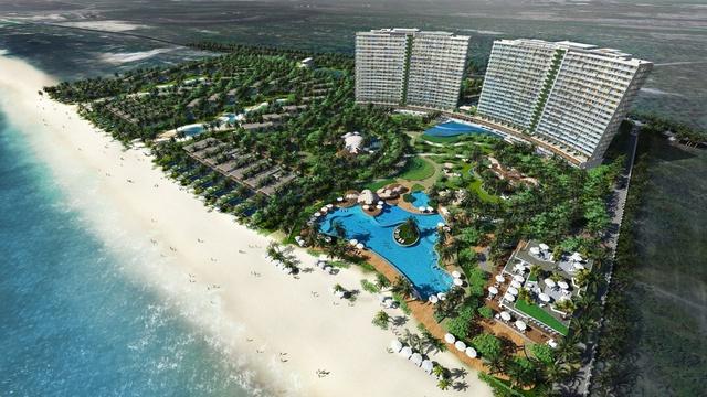 Biệt thự, căn hộ nghỉ dưỡng The Hamptons Hồ Tràm hình vòng cung với 100% mặt tiền biển