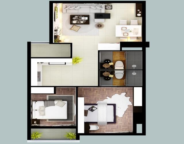 Thiết kế bên trong của căn hộ 2 phòng ngủ tại The Southern Dragon