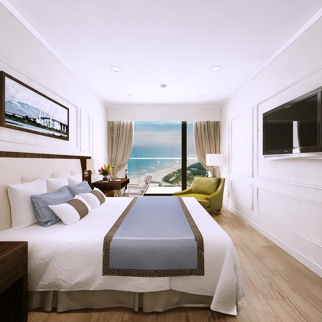 Phòng ngủ phong cách Tân cổ điển với hướng nhìn ra bãi biển thơ mộng