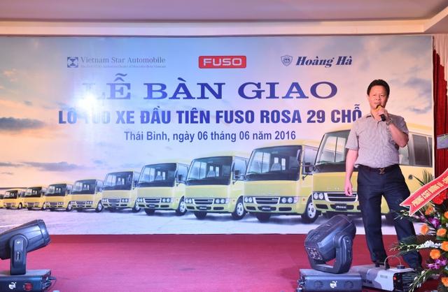 Ông Lưu Huy Hà – Chủ tịch hội đồng quản trị Công ty Cổ phần Hoàng Hà phát biểu tại lễ bàn giao