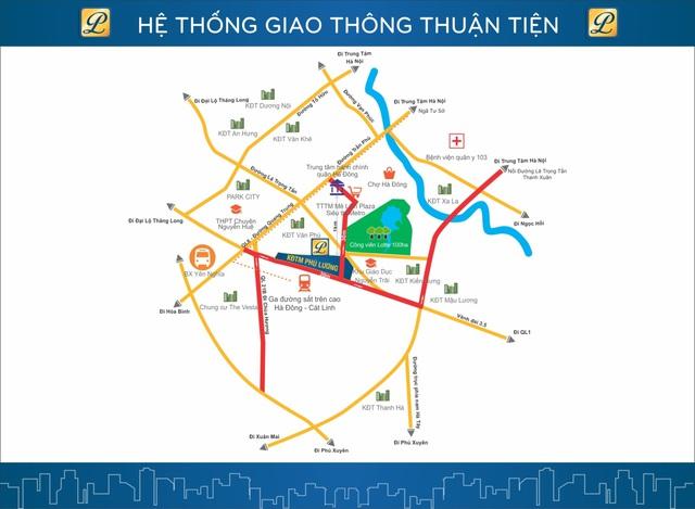 Dự án Phú lương sở hữu giao thông hoàn chỉnh với ba trục đường 30m