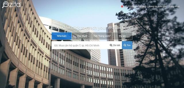 Giao diện thân thiện, thiết kế tinh tế của chuyên trang tìm kiếm bất động sản - zita.vn
