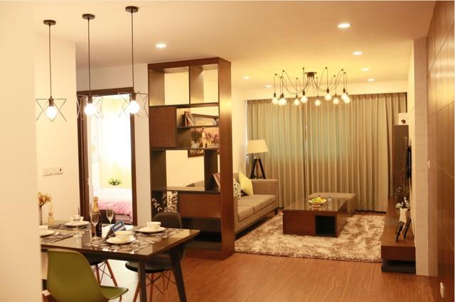 Nội thất nhà mẫu ấm cúng, vừa tận dụng tối ưu diện tích vừa toát lên nét sang trọng của một khu căn hộ đẳng cấp bốn sao