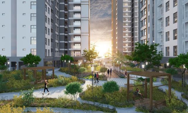 Không gian xanh được ưu tiên phát triển, ngoài công viên dưới đất, 1 khu vườn treo nằm ngay tại tầng 7