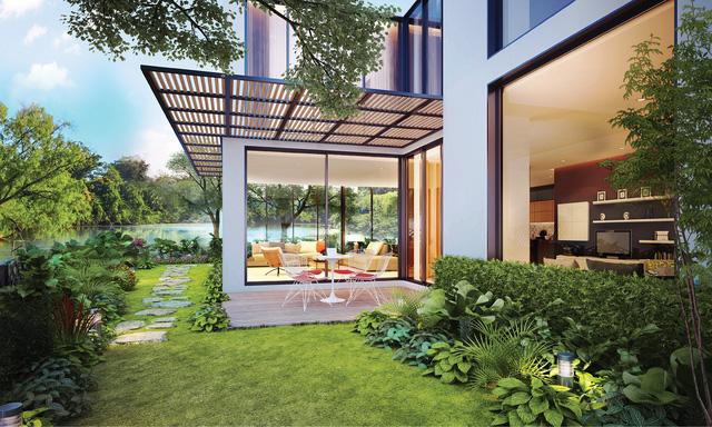 Nhà vườn biệt lập Long Phú với khoảng sân trước, vườn sau rộng thoáng, xanh mát.