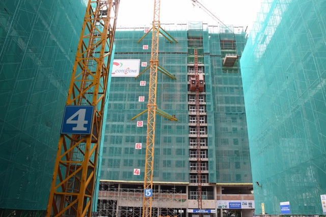 Tháp B đang thi công lên đến tầng 18.