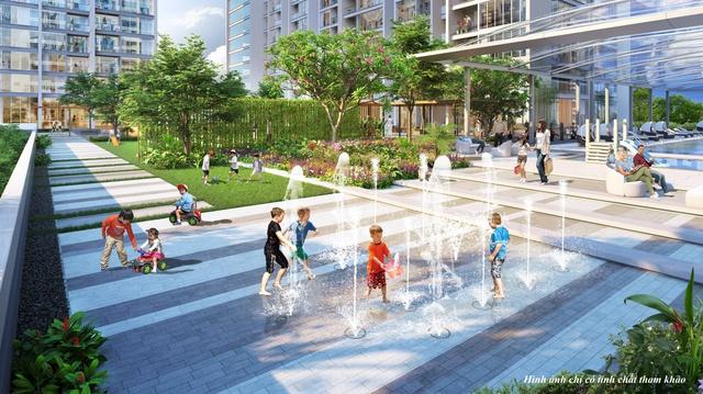 Vườn nổi được bố trí cạnh vườn BBQ, sân chơi trẻ em, sảnh lounge ngoài trời, phục vụ đầy đủ nhu cầu vui chơi, giải trí của cư dân tương lai.