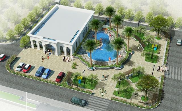 Nhà điều hành với khu tập gym và bể bơi ngoài trời hiện đại.