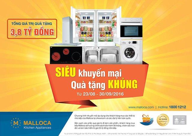 Chương trình khuyến mãi hấp dẫn tại thiết bị bếp Malloca.