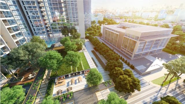 View nội khu nhìn từ tòa M3 dự án Vinhomes Metropolis.